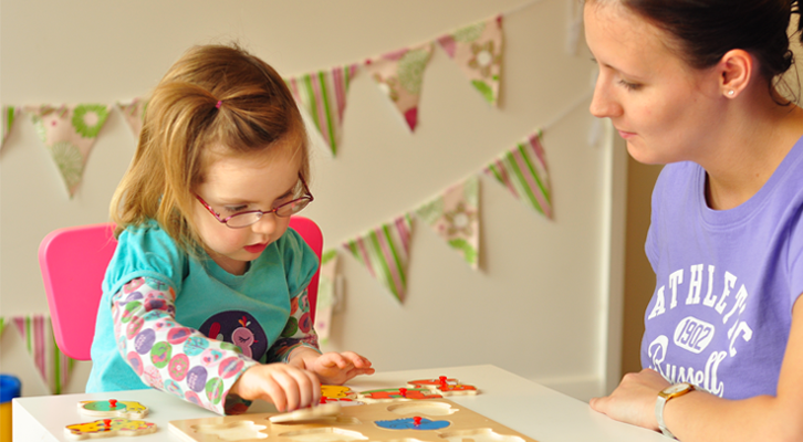 With ABA therapy, therapists work one-on-one with a child to break a meaningful skill into small sequences, help the child learn each sequence and then combine them into the skill.