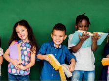 kids starting school stock photo