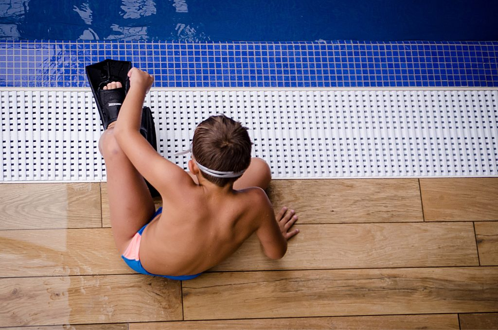 Child preparing for a swimming lesson